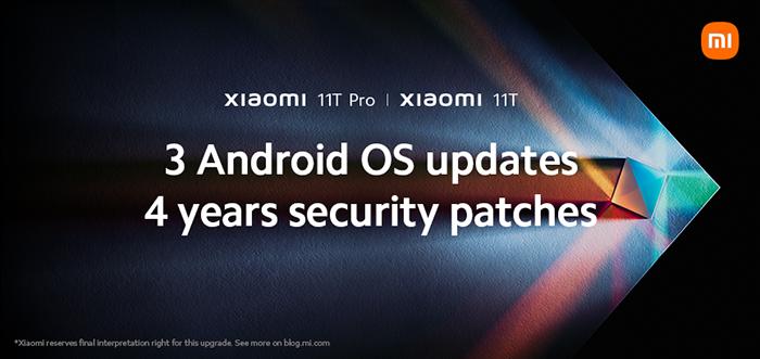 Xiaomi ofrecerá tres actualizaciones del sistema Android y cuatro años de parches de seguridad en la serie Xiaomi 11T