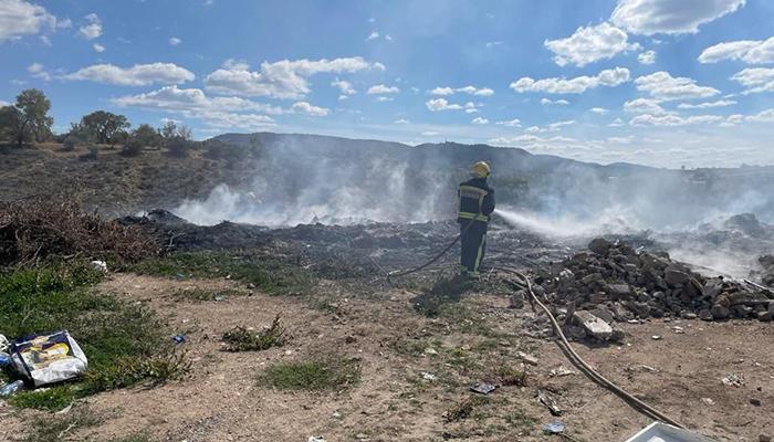Los bomberos del Ayuntamiento de Cuenca sofocan un incendio en Albalate de las Nogueras